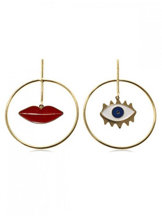 lady Lip Eye Circle Drop Earrings - GOLD