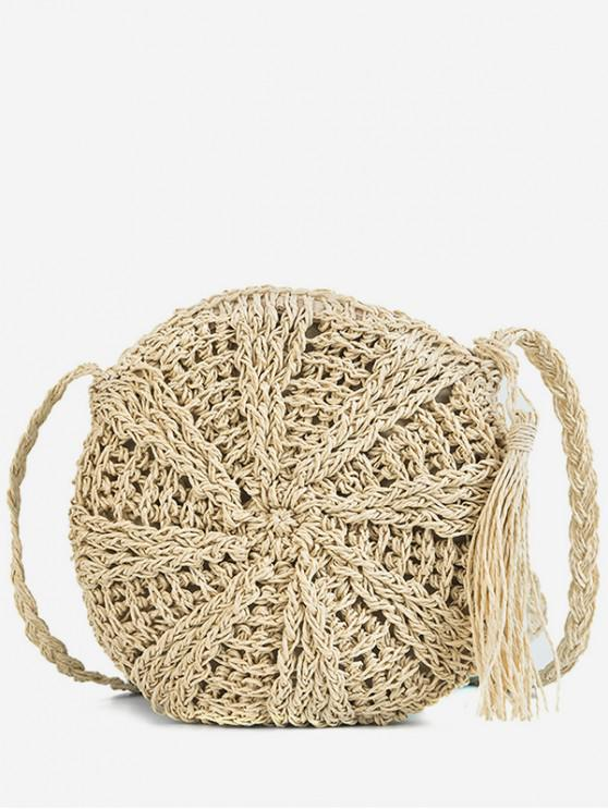 shops Round Shape Straw Woven Crossbody Bag - BEIGE