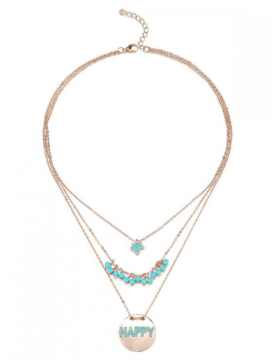 chic Faux Turquoise HAPPY Tiered Necklace - GOLD