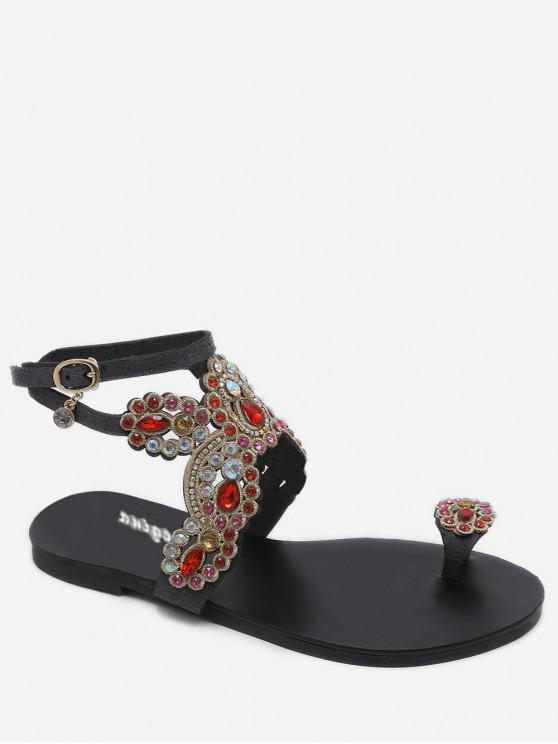 outfit Open Toe Rhinestone Flat Sandals - BLACK EU 36