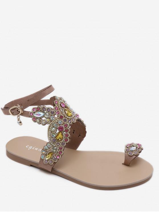 sale Open Toe Rhinestone Flat Sandals - APRICOT EU 38