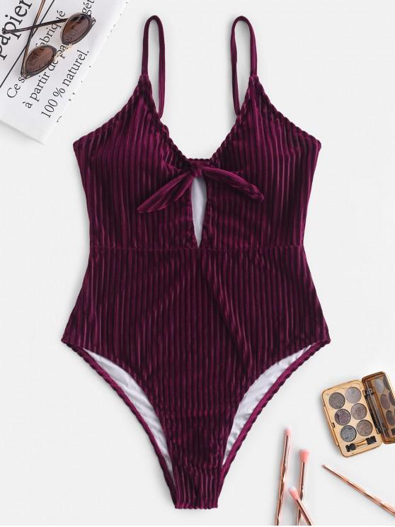 buy ZAFUL Velvet Ribbed Tied High Waisted Swimsuit - FIREBRICK XL