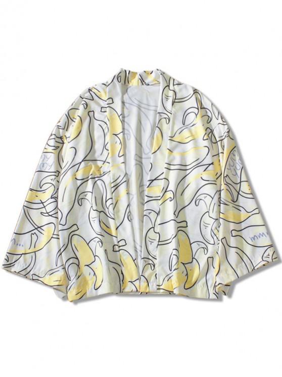 Banana Cartas Imprimir Kimono Cardigan - Blanco Cálido M