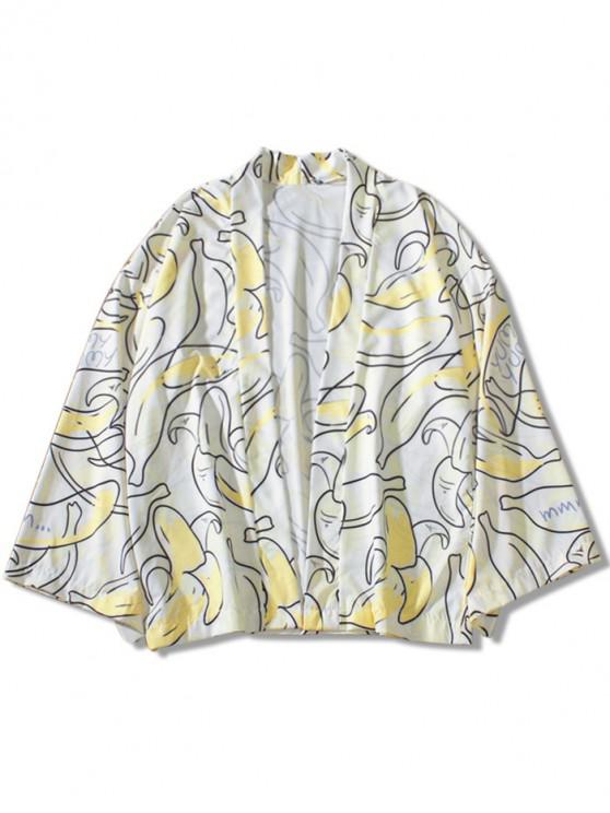 Cardigan Kimono Lettre et Banane Imprimés - Blanc Chaud L