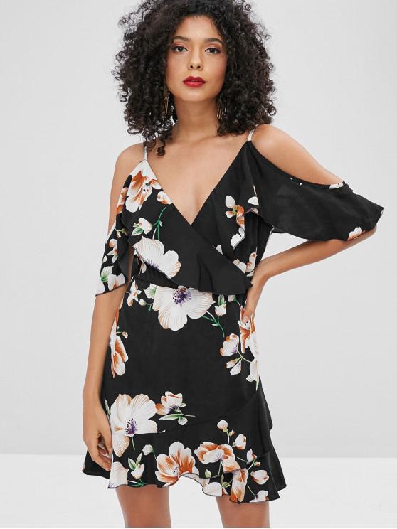 ZAFUL Floral Ruffles Cold Shoulder Dress - Nero L