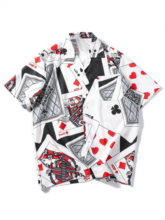 affordable Playing Card Print Casual Shirt - MULTI L