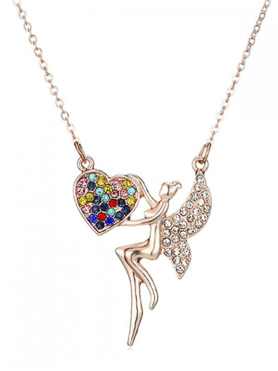 chic Fairy Heart Shape Sweater Chain - GOLD