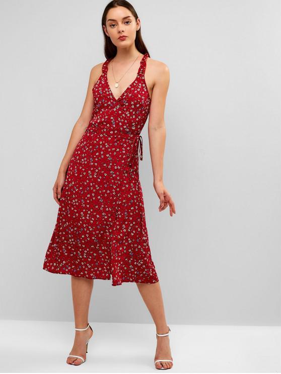 latest ZAFUL Ruffles Floral Wrap Midi Dress - CHESTNUT RED M
