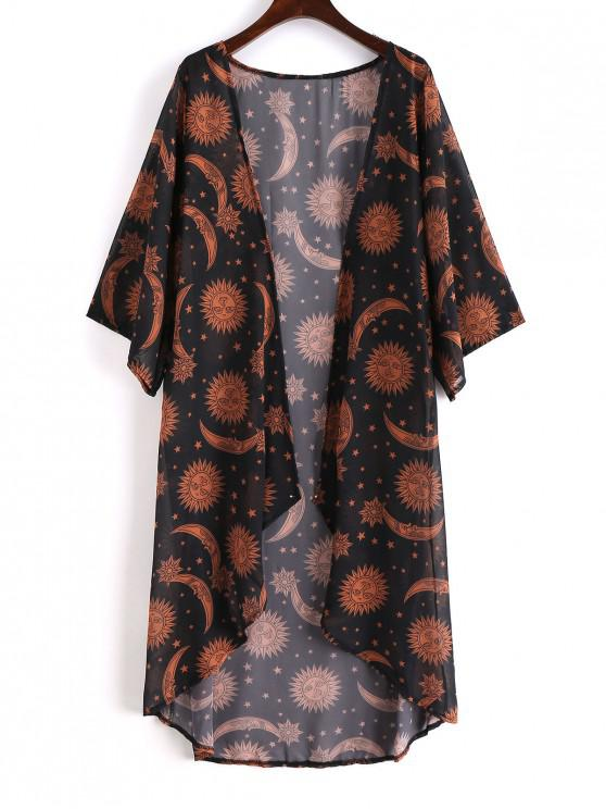 trendy Sun Stars Moon Kimono Cover-up - BLACK M