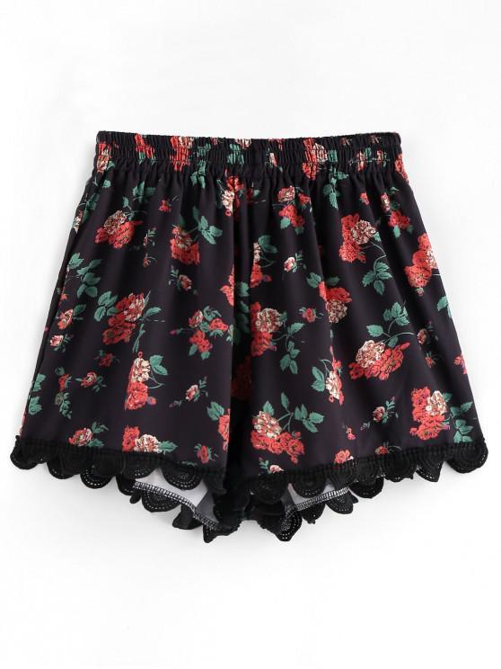 women's Crochet Trim Floral Cover-up Shorts - BLACK XL