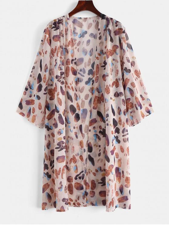 fashion Stone Print Beach Kimono - MULTI-A L