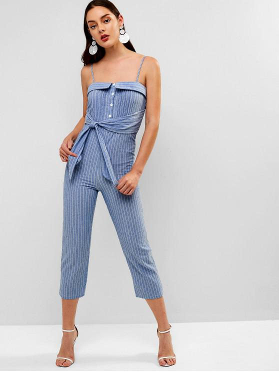 fashion Buttoned Pleated Striped Cami Jumpsuit - DAY SKY BLUE L
