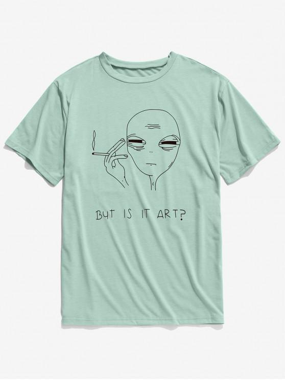 T-shirt modello divertente a manica corta - Verde del Mare Nero M