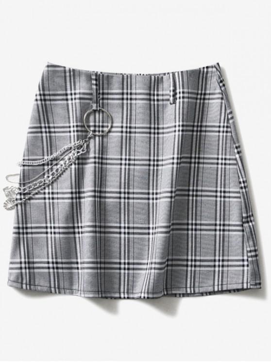 Popular Curb Chain Mini Checkered Skirt   Multi L by Zaful