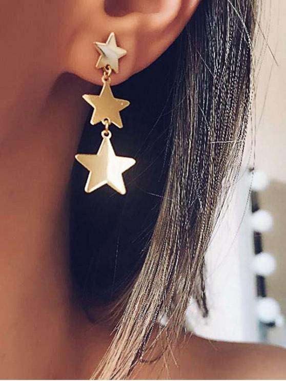 ladies Star Shape Stud Drop Earrings - GOLD