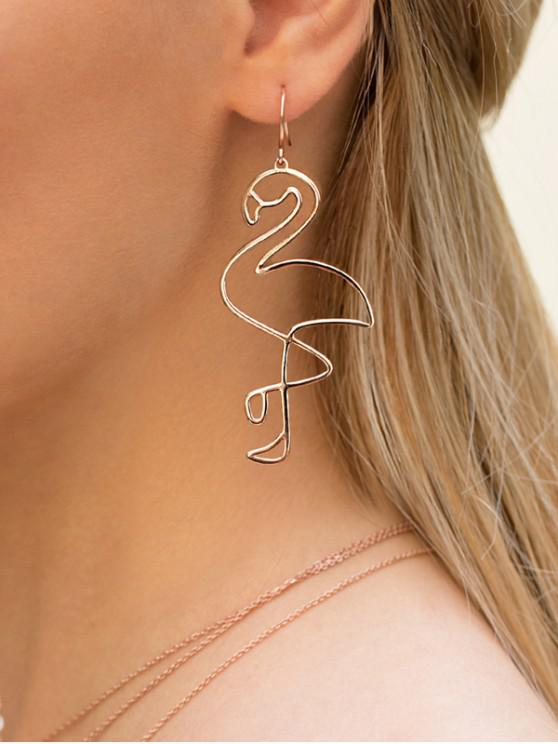 fashion Hollow Flamingo Shape Drop Earrings - ROSE GOLD