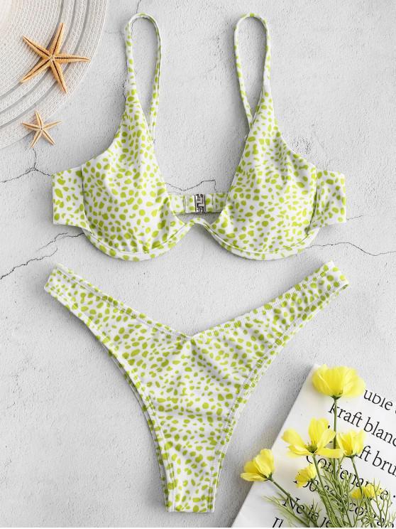 shop ZAFUL Printed Underwire Bikini - GREEN YELLOW M