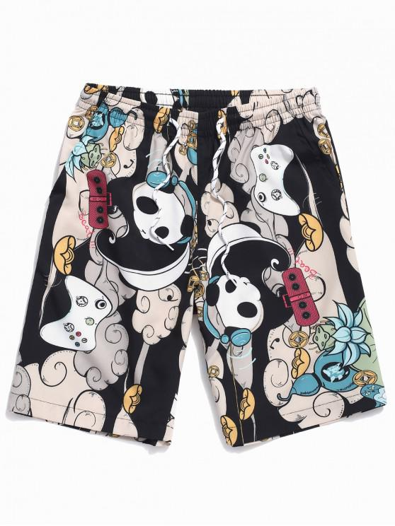 womens Listening Music Panda Print Drawstring Beach Shorts - MILK WHITE XL