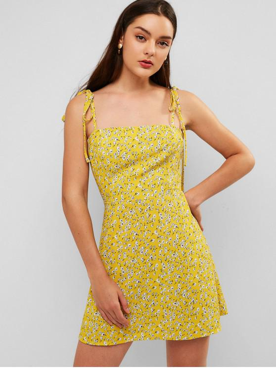 outfit ZAFUL Floral Tie Strap Apron Mini Sundress - BEE YELLOW M