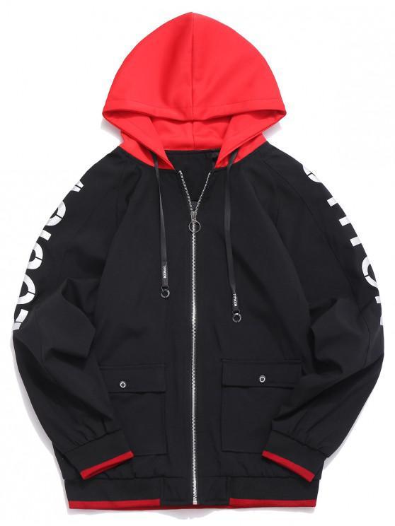affordable Color Block Raglan Sleeves Hooded Jacket - BLACK M
