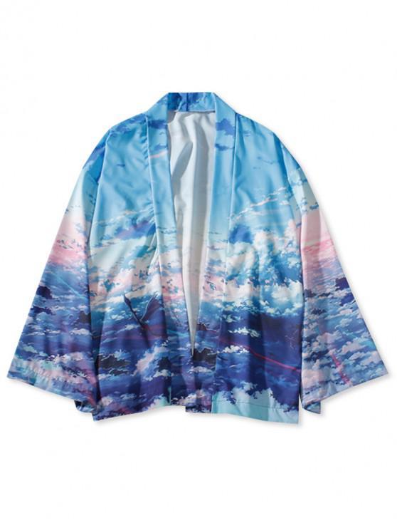 Sky pintura de impresión Kimono Cardigan - Cielo Azul Oscuro L