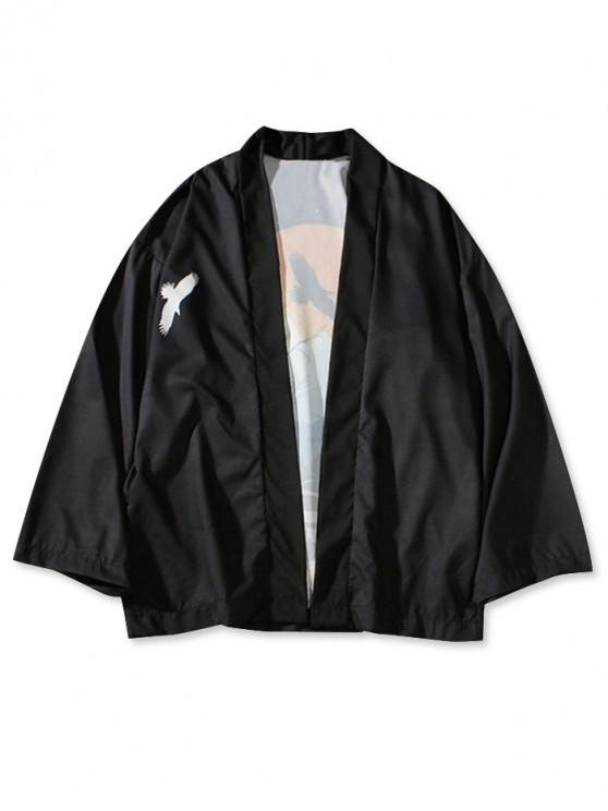 trendy Sunset Landscape Print Beach Kimono Cardigan - BLACK L