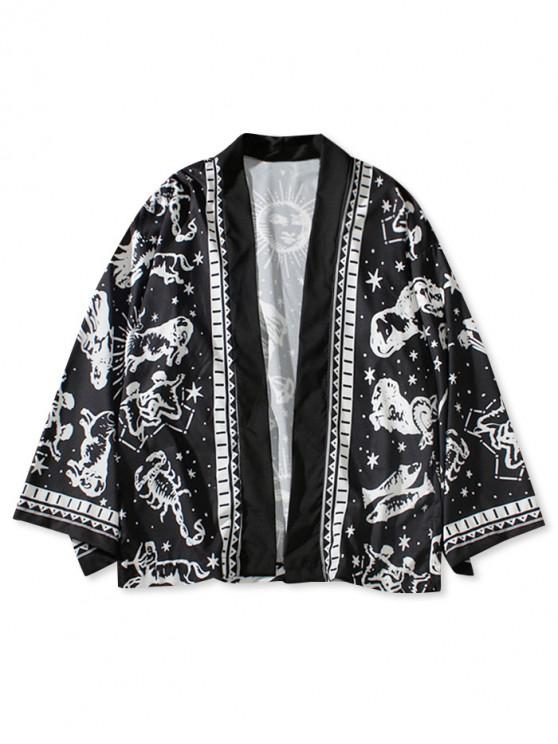 chic Outdoor Constellation Print Kimono Cardigan - BLACK S