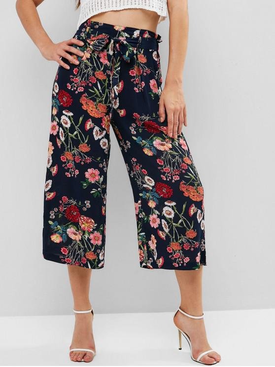 lady Knotted Floral Wide Leg Pants - MULTI XL