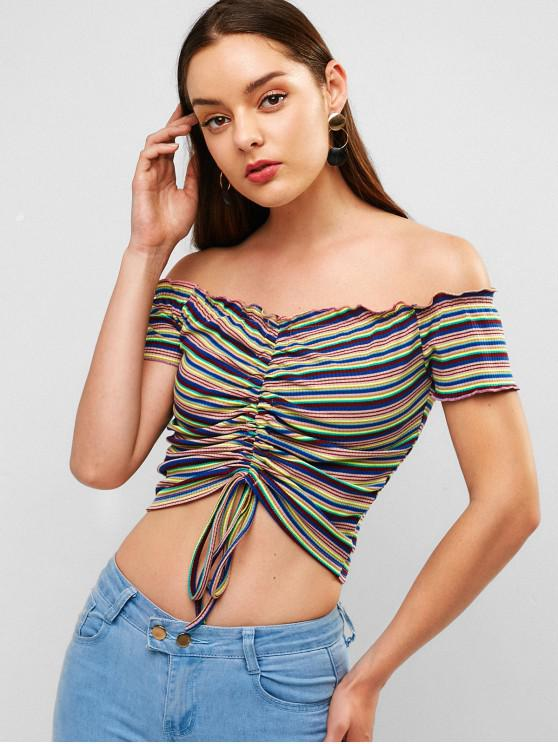 shop Cinched Stripes Off Shoulder Top - MULTI S