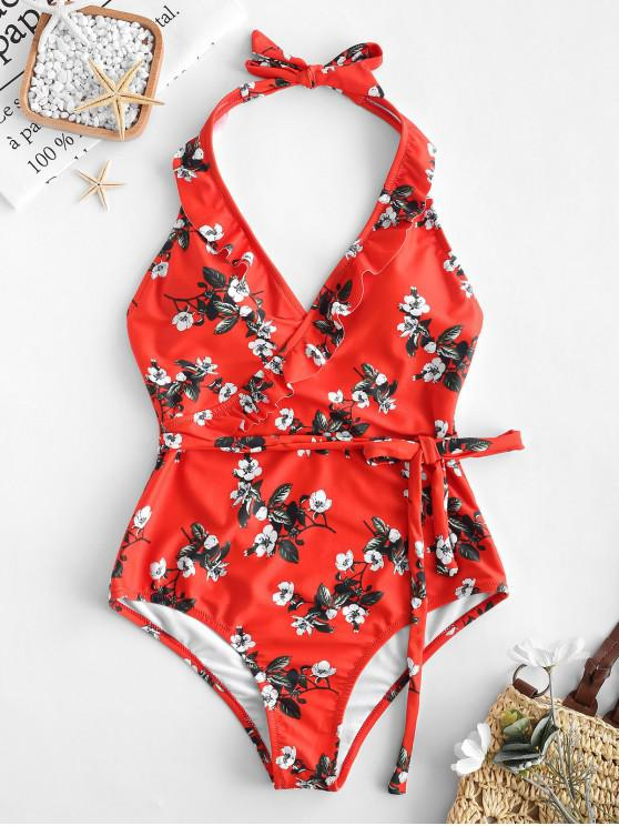 latest ZAFUL Flower Ruffle Belted Backless Swimsuit - BEAN RED M