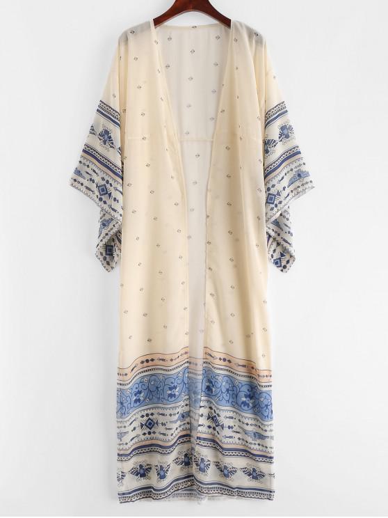 trendy Printed Long Beach Kimono - WARM WHITE M