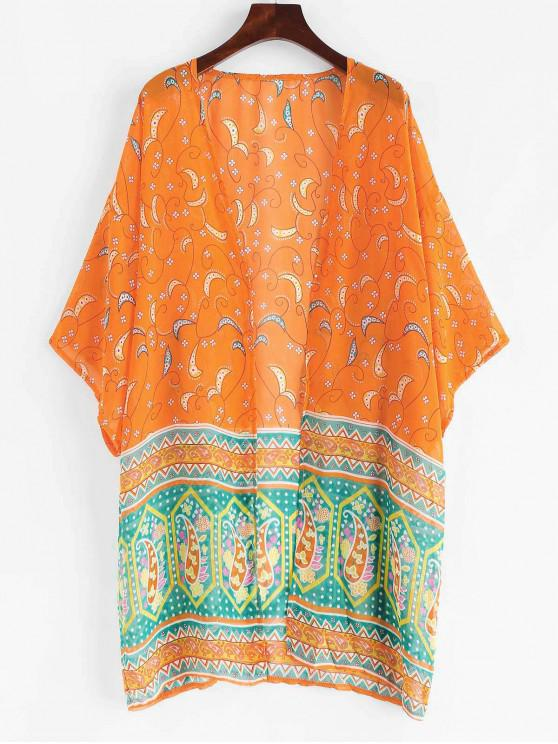 buy Bohemian Printed Beach Kimono - SUNRISE ORANGE L