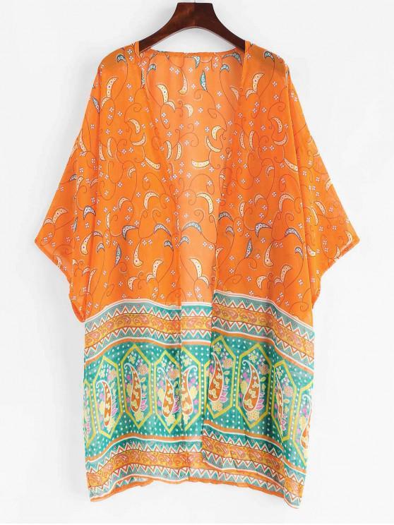 Böhmischer gedruckter Strand-Kimono - Sonneaufgang Orange L