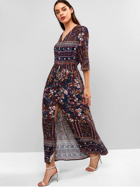 fashion Floral Button Up Slit Maxi Dress - PEARL INDIGO BLUE M