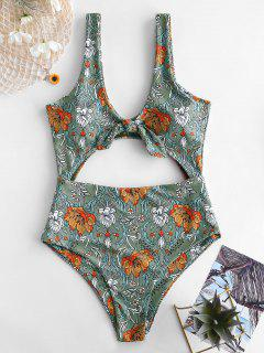 ZAFUL Tied Cut Out Floral Swimsuit - Multi-a M