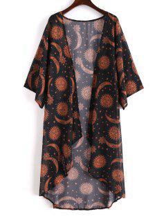 Robe Couverte Kimono Etoile Lune Et Soleil - Noir M