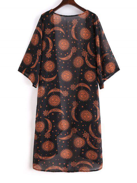 Robe Couverte Kimono Etoile Lune et Soleil - Noir S Mobile