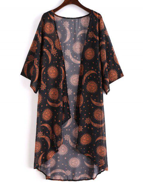 latest Sun Stars Moon Kimono Cover-up - BLACK S Mobile