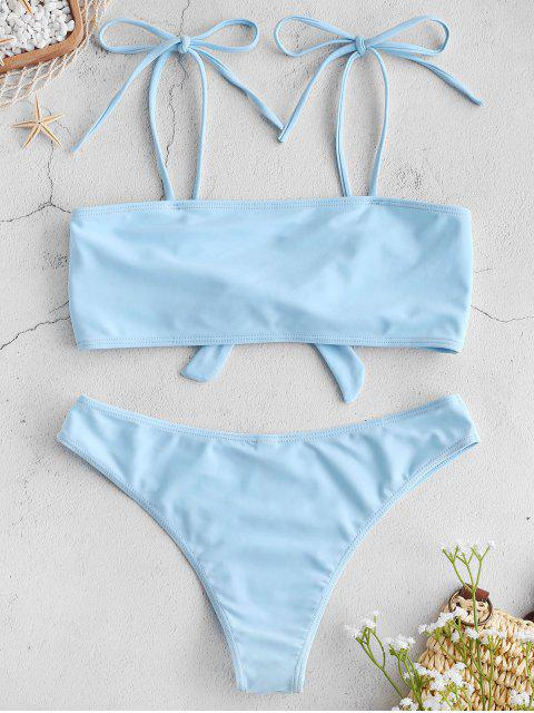 new ZAFUL Knot Tie Convertible Bikini Set - LIGHT BLUE M Mobile
