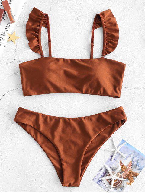 women ZAFUL Ruffle Cami Bikini Set - CHESTNUT RED M Mobile