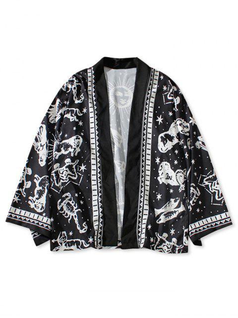 Cardigan Kimono Horoscope Imprimé Pour Extérieur - Noir M Mobile