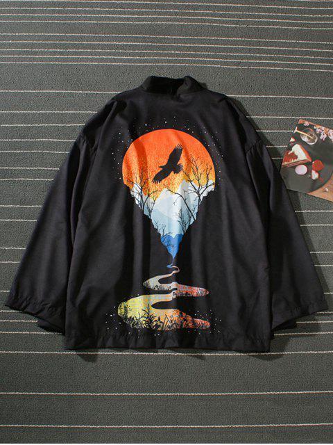 Cardigan Kimono de Plage Paysage Coucher de Soleil Imprimé - Noir XL Mobile