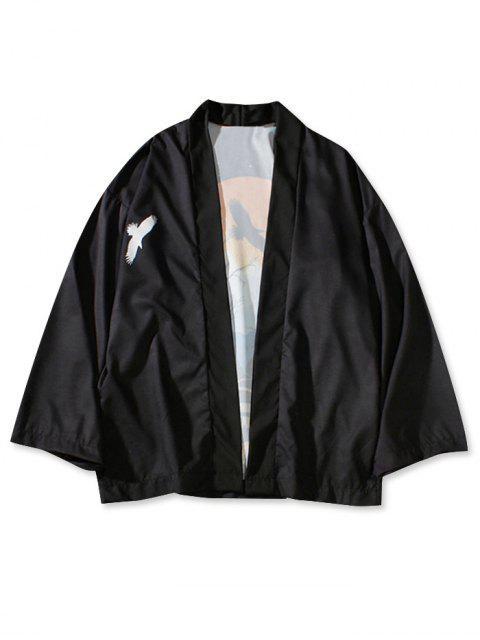 Cardigan Kimono de Plage Paysage Coucher de Soleil Imprimé - Noir L Mobile