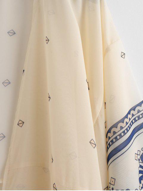 Kimono Long Beach Imprimé - Blanc Chaud L Mobile