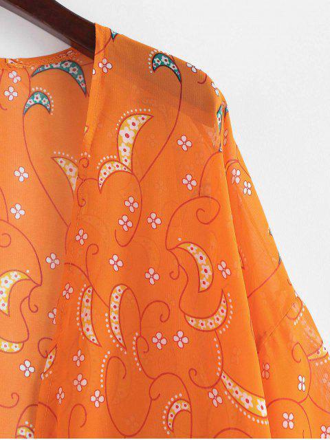Kimono de plage imprimé bohème - Orange de Lever du Soleil L Mobile