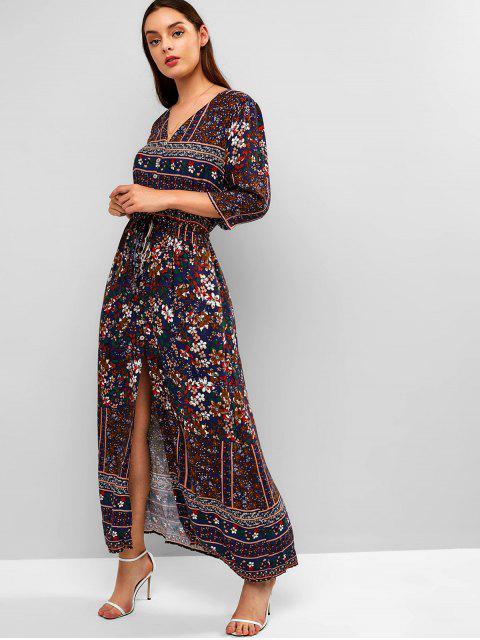 fashion Floral Button Up Slit Maxi Dress - PEARL INDIGO BLUE M Mobile