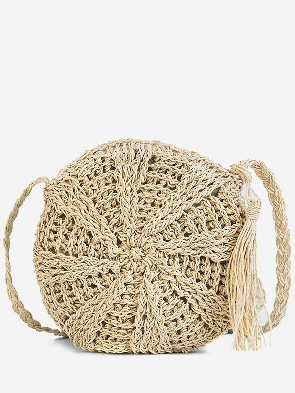 Round Shape Straw Woven Crossbody Bag thumbnail