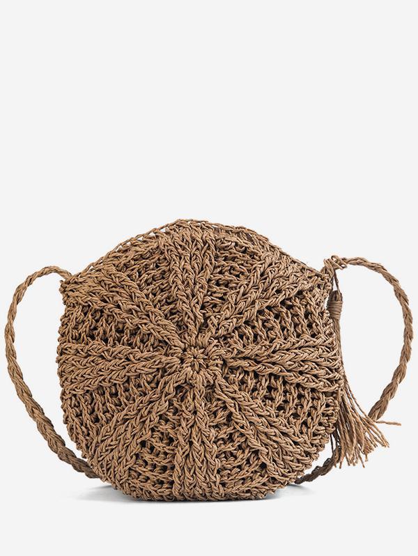 Round Shape Straw Woven Crossbody Bag, Brown