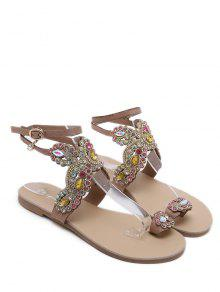 acefe61d783c ... Open Toe Rhinestone Flat Sandals. outfits Open Toe Rhinestone Flat  Sandals - APRICOT EU 37