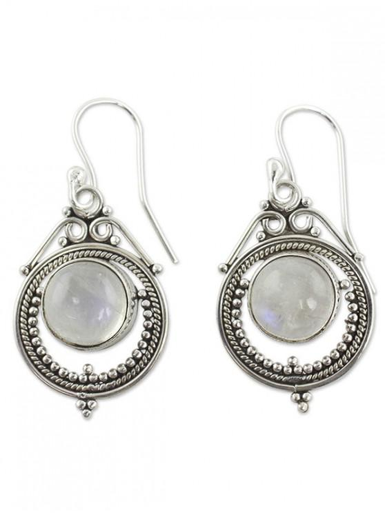 fashion Carved Faux Moonstone Earrings - SILVER